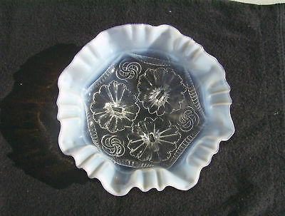 Northwood Clear Opalescent Ruffles & Rings Footed Bowl