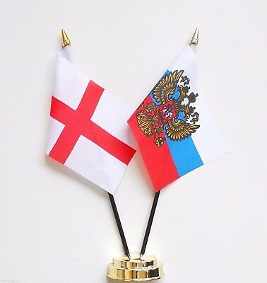 England & Russia Presidential Standard Double Friendship Table Flag Set