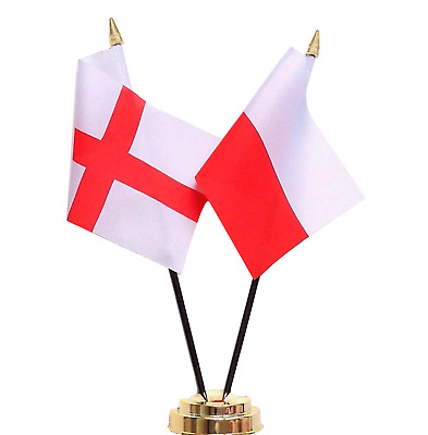 England & Poland Double Friendship Table Flag Set