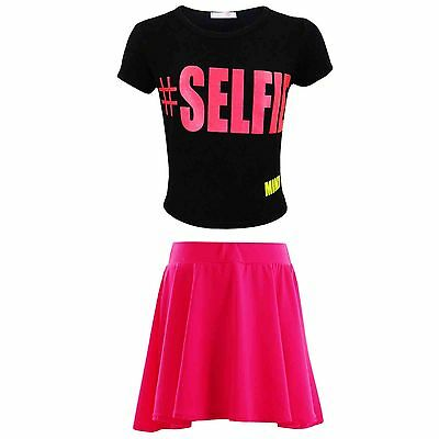 "Kids Girls "" #SELFIE "" Crop Top & Neon Pink Skater Skirt Set 7 8 9 10 11 12 13Yr"