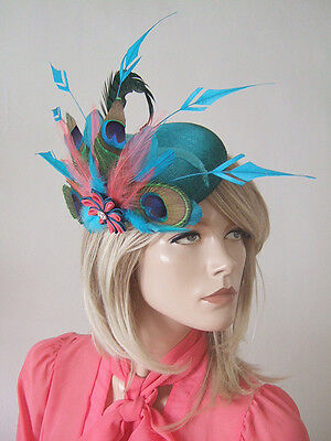 Turquoise, Teal & Coral Peacock Feather Ombre Headpiece Fascinator - Myla FG0309