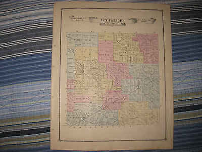 Antique 1876 Exeter Township Scofield Monroe County Michigan Handcolored Map Nr