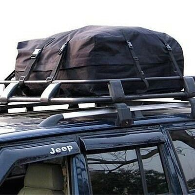 BLACK CAR ROOF TOP CARGO PACK BAG ROOF BOX TRAVEL TOURING LUGGAGE RACK HOLDALL