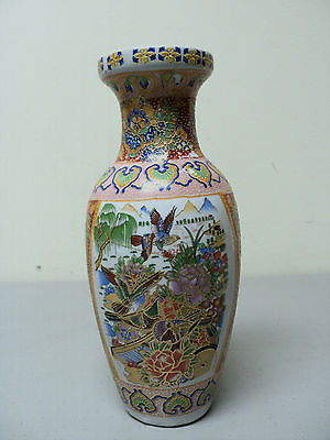 Nice Antique Oriental Pottery Transferware Vase, Hand Enameled Accents