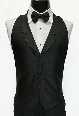Mens Black 7 Btn Front Notch Lapel Openback Tuxedo Vest w Bow Tie Waiter Fit All