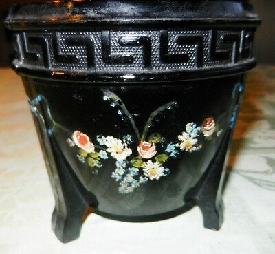 L.E. Smith  Co~ Black Amethyst Glass Greek Key 3~Footed Planter~Rose Garland