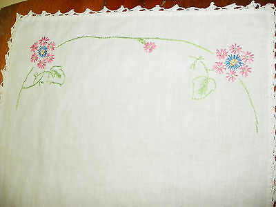 "HAND EMBROIDERED WHITE TABLE RUNNER-PINK & BLUE FLOWERS-36"" X 16""-FREE SHIPPING"