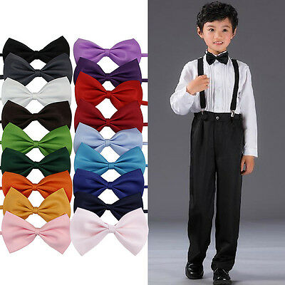 Lot of Children Girls Boys Toddler Bowtie Pre Tied Wedding Bow Tie Plain Necktie