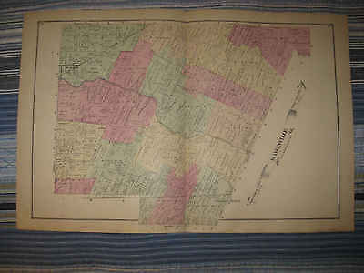 Large Antique 1876 Raisinville Township Monroe County Michigan Handcolored Map N
