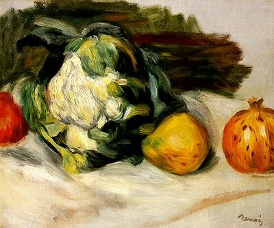Cauliflower Promegranete Vegetable Fruit Impressionist Painting By Renoir Repro