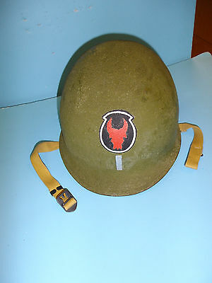 b3987 WW 2 US  helmet shell hand painted 1st Lt 34th Infantry Division