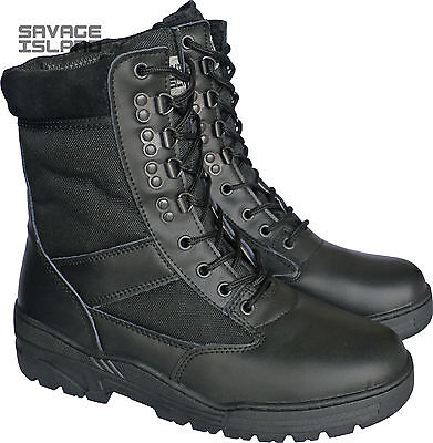 Black Leather Army Patrol Combat Boots Tactical Cadet Security Military Police