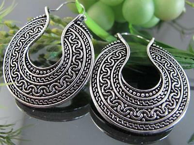 Ethnic Miao Tibet Silver Front Side Carve Circle Pendant Hoop Earrings T261