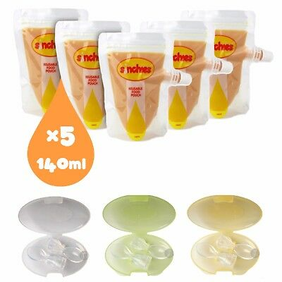 NEW Sinchies 140ml Reusable Food Pouches & Silicone Soft Tip Spoons 2pcs w/Case