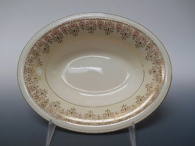 Edwin Knowles 22K Gold Deco Filigree Cream 1930's Oval Vegetable Serving Bowl