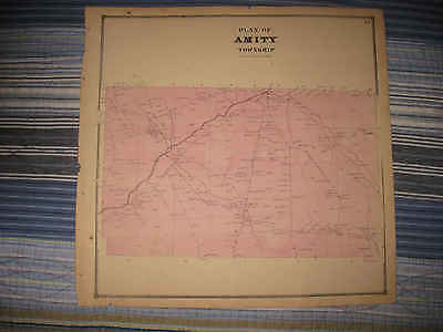 Antique 1865 Amity Township Erie County Pennsylvania Handcolored Map Superb Nr