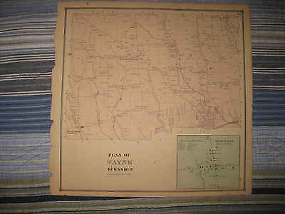 Antique 1865 Wayne Township Beaverdam Erie County Pennsylvania Handcolored Map N