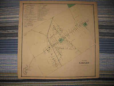 Antique 1865 Girard City Erie County Pennsylvania Handcolored Map Superb Nr