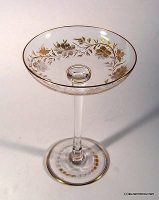"""Antique Engraved & Gold Filled Foliate Design Bohemian Glass 7"""" Chalice"""