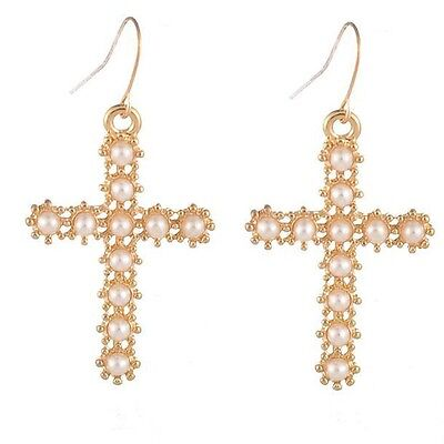 Special Gold Tone Cross Shape Inlay Faux Pearl Hook Earring Ladies Party Jewelry