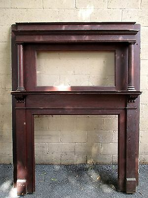 ~ Tall Antique Oak Fireplace Mantel ~ 41.5 Inch Opening ~ Architectural Salvage