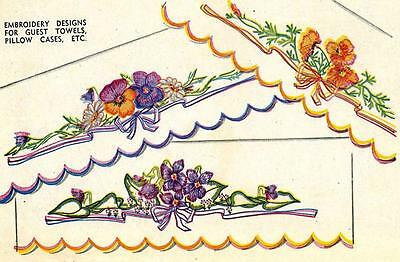 Vintage Embroidery Transfer repo 7140 Lovely Flowers & Borders for Pillow Cases