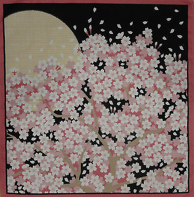 Furoshiki Japanese Cotton 'Cherry Blossoms in the Moonlight' Sakura Fabric 50cm