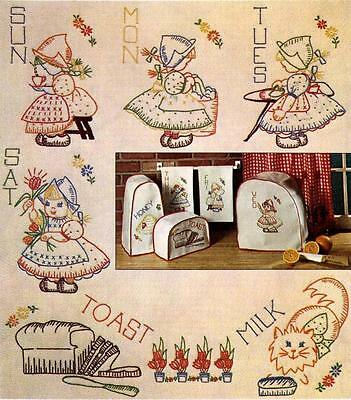 Vintage Embroidery Transfer repo 7425 Dutch Girls for Days of the Week Towels