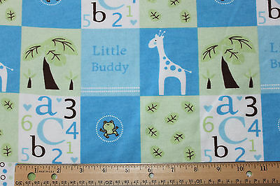 FLANNEL *LITTLE BUDDY  BABY BOY BLOCKS* BLUE/GREEN 100% Cotton Fabric *NEW* BTY