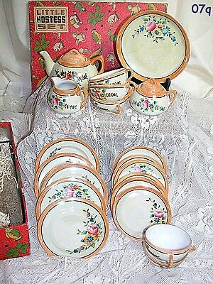 Little Hostess Luster Ware Childs Toy Tea Set in Original Box Made Japan 24 pc