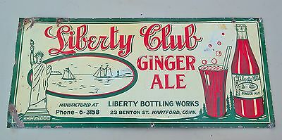 Original Liberty Club Ginger Ale Soda Pop General Store Sign