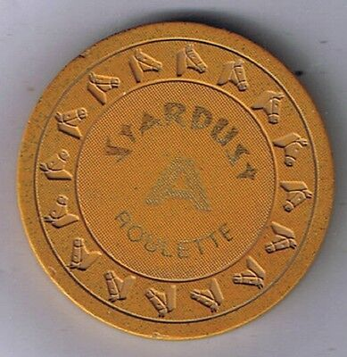 Stardust Casino Roulette Chip HHR Mustard A 1970 Las Vegas Nevada Not Listed