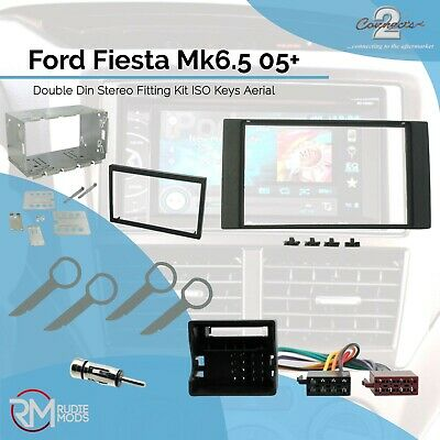 Ford Fiesta Mk6.5 05 on Complete Double Din Stereo Fitting Kit ISO Keys Aerial