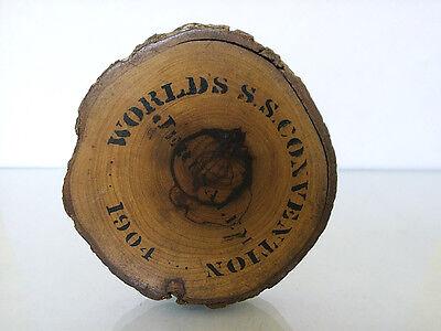 Worlds S.S. Convention Jerusalem  dated 1904 paperwight Holy Land olivewood