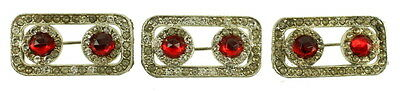 Antique Deco Clear & Red Paste Rhinestones Set 3 Sweater Dress Pins Nice!