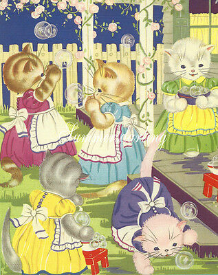 Cat*cats*kitten**quilt Art Fabric Block*five Little Stoy Book Kittes*porch*apron