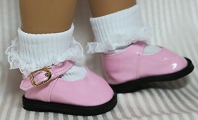 """PINK MARY JANE PATENT SHOES & LACY SOCKS fits 18"""" Girl Doll~ American Seller MBT"""