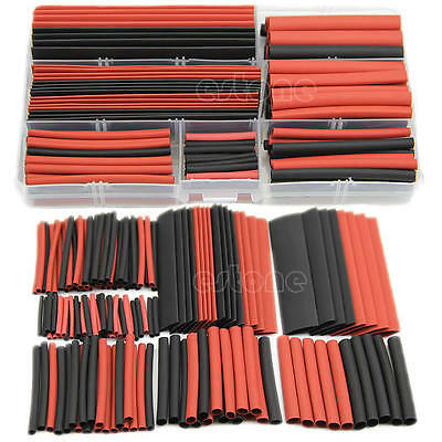 New 150pcs 2:1 Polyolefin Heat Shrink Tubing Tube Sleeving Wrap Wire Kit Cable