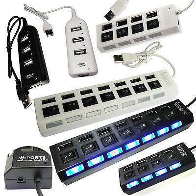 4 or 7 Port High Speed USB 2.0 External Multi Expansion Hub with ON / OFF Switch
