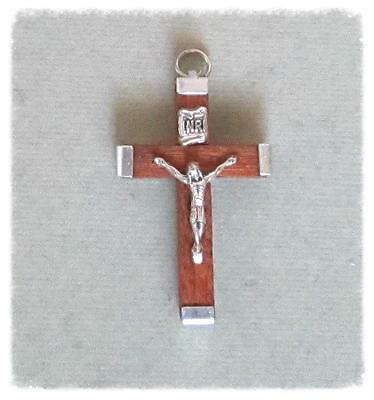 BROWN Wood Rosary Crucifix ITALY Make Rosaries Cross ITALY C118 ~ Small