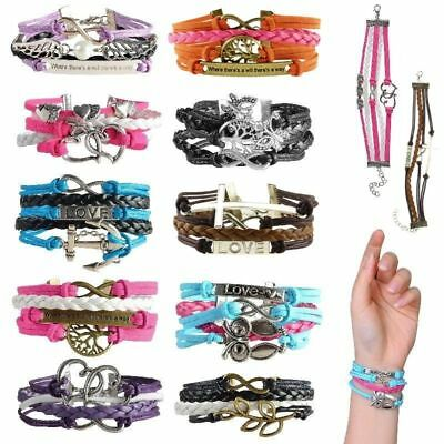 Fashion Leather Cute Infinity Charm Bracelet Jewelry Silver lots Style US Seller
