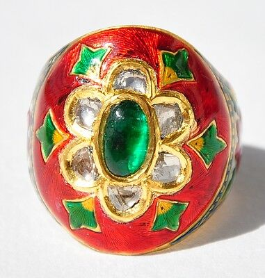 Masterpeice 22Kt Gold Emerald Diamond Moghul Enamel Ring
