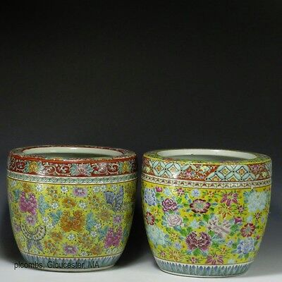 Near Pair 20th C. Chinese Floral Decorated Enamel Porcelain Planters, One Marked