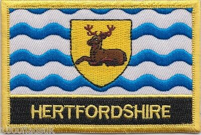 Hertfordshire County Council Flag Embroidered Patch Badge - Sew or Iron on