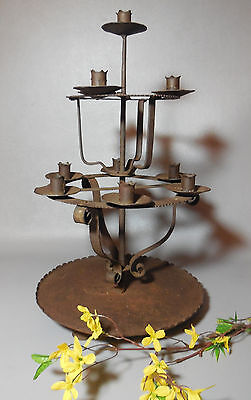 AAFA Primitive Hand Forged Wrought Iron Riveted 10 Candle Candelabra Stand
