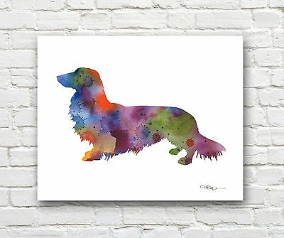 Long Haired Dachshund Abstract Watercolor Painting Art Print by Artist DJ Rogers