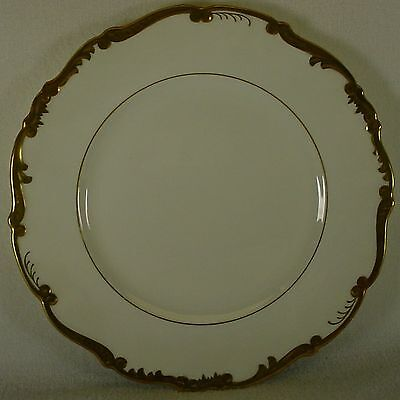COALPORT china ADMIRAL 9359 white & gold DINNER PLATE 10-5/8""