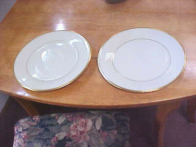 "Set of 2 Lenox China Eternal Gold Trim10 3/4"" Dinner Plates  Made in USA"