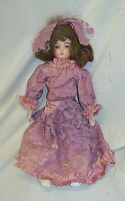 "Old Antique 19"" Germany Armand Marseille Darling Bisque Head Leather Body Doll"