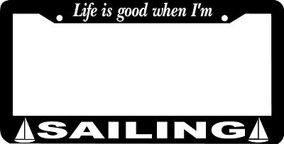 """Chrome License Plate Frame /""""Life Is Good When I/'m Playing Guitar/"""" Auto"""
